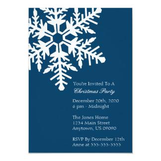 """Jumbo Snowflake Christmas Party Invitation (Navy) 5"""" X 7"""" Invitation Card"""