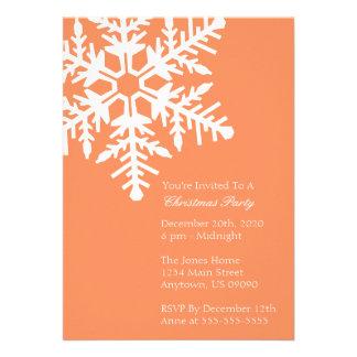 Jumbo Snowflake Christmas Party Invitation Orange