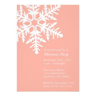 Jumbo Snowflake Christmas Party Invitation Peach