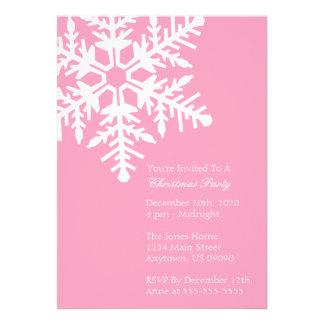 Jumbo Snowflake Christmas Party Invitation Pink