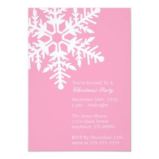 Jumbo Snowflake Christmas Party Invitation (Pink)