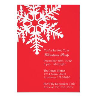 "Jumbo Snowflake Christmas Party Invitation (Red) 5"" X 7"" Invitation Card"