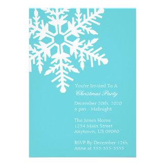 Jumbo Snowflake Christmas Party Invitation Teal