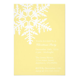 Jumbo Snowflake Christmas Party Invitation Yellow