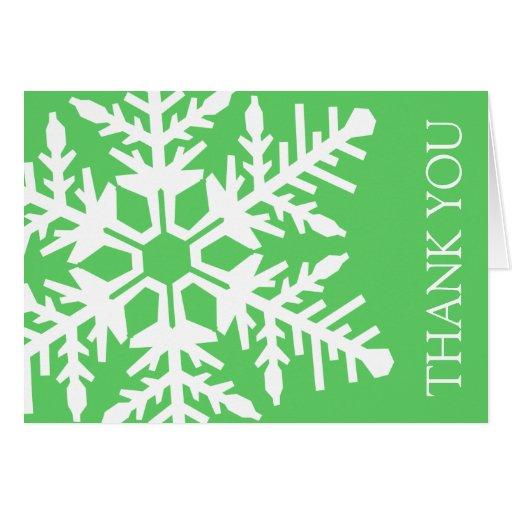 Jumbo Snowflake Thank You Card (Lime Green/White)