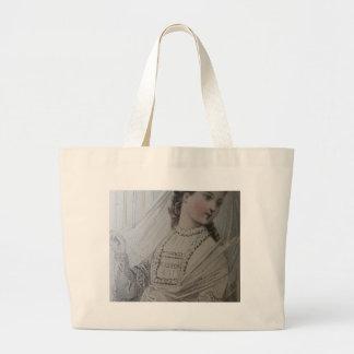 Jumbo tote, 19th century fashion illustration, att jumbo tote bag