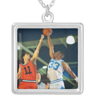 Jump ball in basketball game silver plated necklace