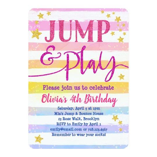 Jump Birthday Invitation Girls Jump & Play Party