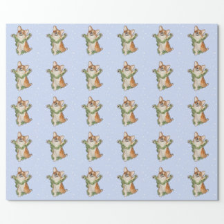 """Jump for Joy!""  Corgi wrapping paper"