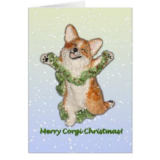 """""""Jump For Joy"""" Merry Corgi Christmas Card"""