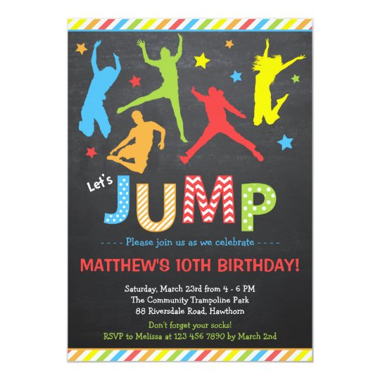 Trampoline Party Invitations: Jump Invitation / Trampoline Birthday Invitation
