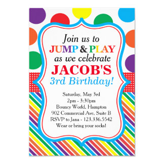 Jump, Play and Bounce Party Invitation (Primary)