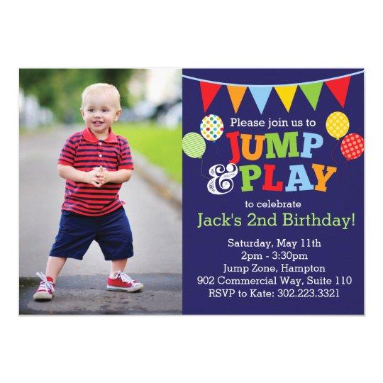 Jump & Play Balloons Photo Invitation (Navy Blue)