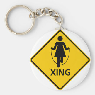 Jump Rope Crossing Highway Sign Basic Round Button Key Ring