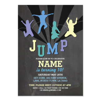 Jump Trampoline Birthday Party Blue Boys Invite
