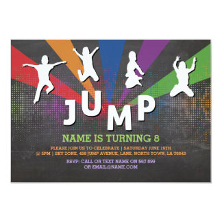 Jump Trampoline Birthday Party Jumping Invite