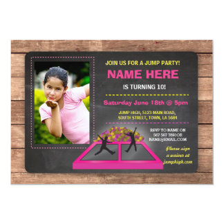 Jump Trampoline Pink Girl's Birthday Invite