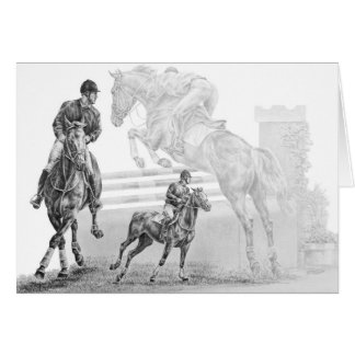 Jumper Horse Montage Drawing by Kelli Swan Greeting Card