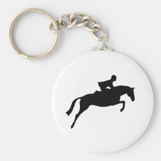Jumper Horse Silhouette Basic Round Button Key Ring