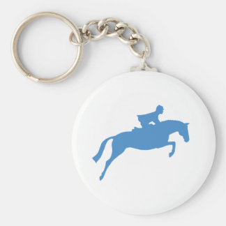 Jumper Horse Silhouette (blue) Basic Round Button Key Ring
