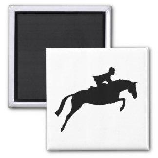 Jumper Horse Silhouette Square Magnet
