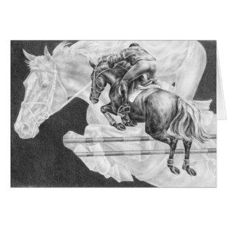Jumper Horses Drawing by Kelli Swan Card