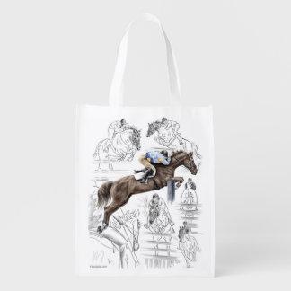 Jumper Horses Fences Montage Reusable Grocery Bag
