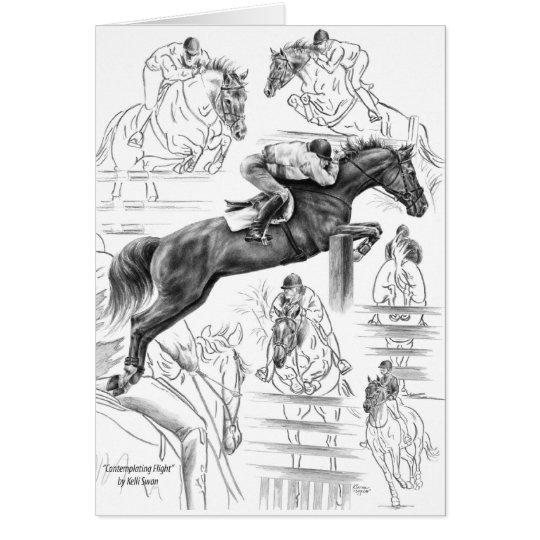Jumper Horses Montage Drawing by Kelli Swan Card