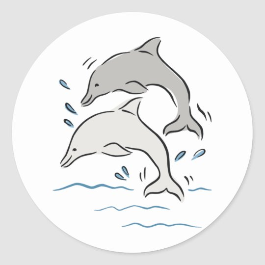Jumpin' Dolphins Classic Round Sticker