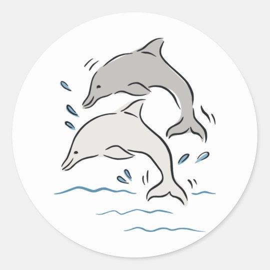 Jumpin' Dolphins Round Sticker