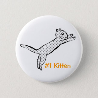Jumping #1 Kitten 6 Cm Round Badge