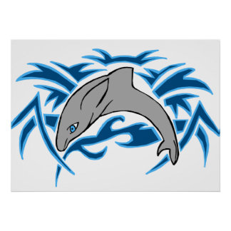Jumping bottle nose dolphin poster