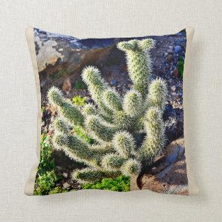 Jumping Cactus in Rock Throw Pillow