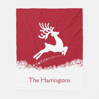 Jumping Deer custom name fleece blankets