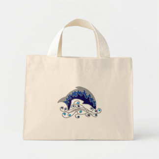 jumping dolphin mini tote bag