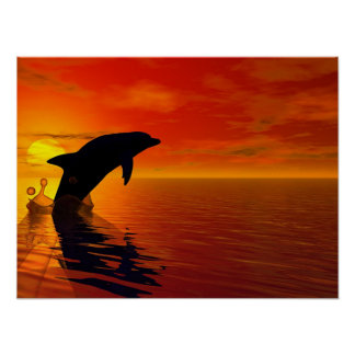 Jumping dolphin poster