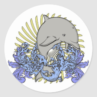 Jumping dolphin round sticker