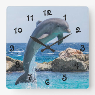 Jumping Dolphin Square Wall Clock