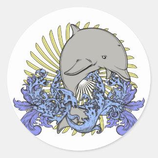 Jumping dolphin round sticker