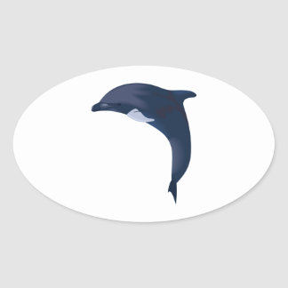 JUMPING DOLPHIN OVAL STICKER