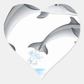 Jumping dolphins heart sticker