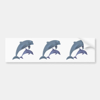 Jumping dolphins illustration bumper sticker