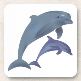 Jumping dolphins illustration coaster