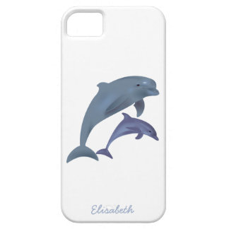 Jumping dolphins illustration name iPhone 5 cover