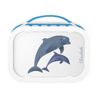 Jumping dolphins illustration name lunch boxes