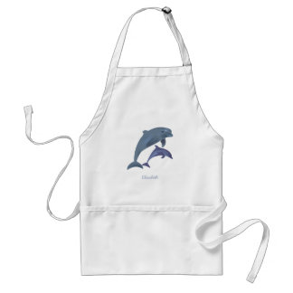 Jumping dolphins illustration name standard apron