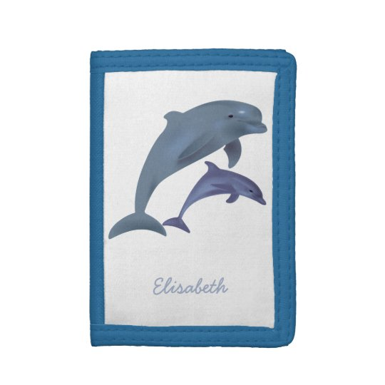 Jumping dolphins illustration name tri-fold wallet