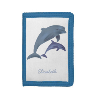 Jumping dolphins illustration name trifold wallets