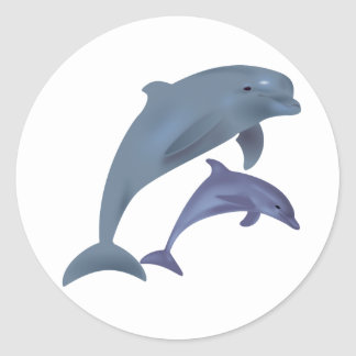 Jumping dolphins illustration round sticker