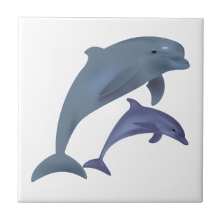 Jumping dolphins illustration small square tile